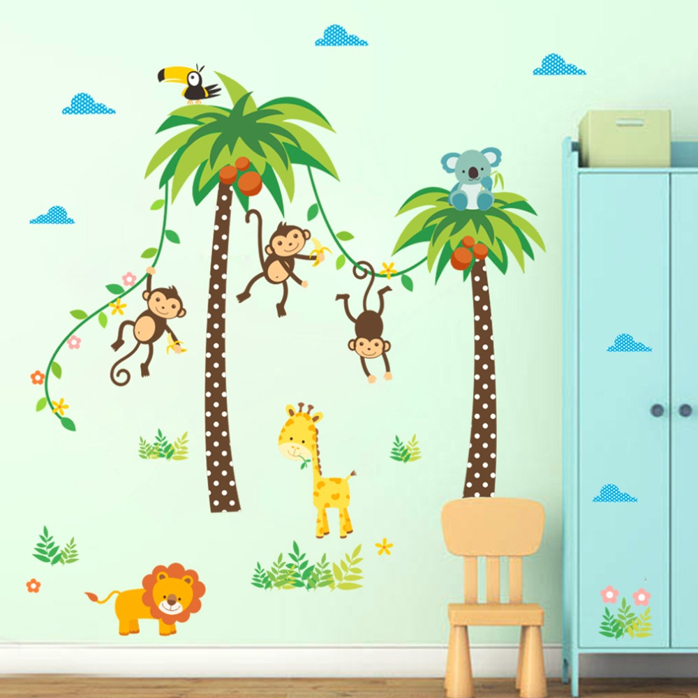 2017 cute wall stickers wall painting monkey coconut tree room decoration children room kindergarten living room - Monkey Bedroom Decor