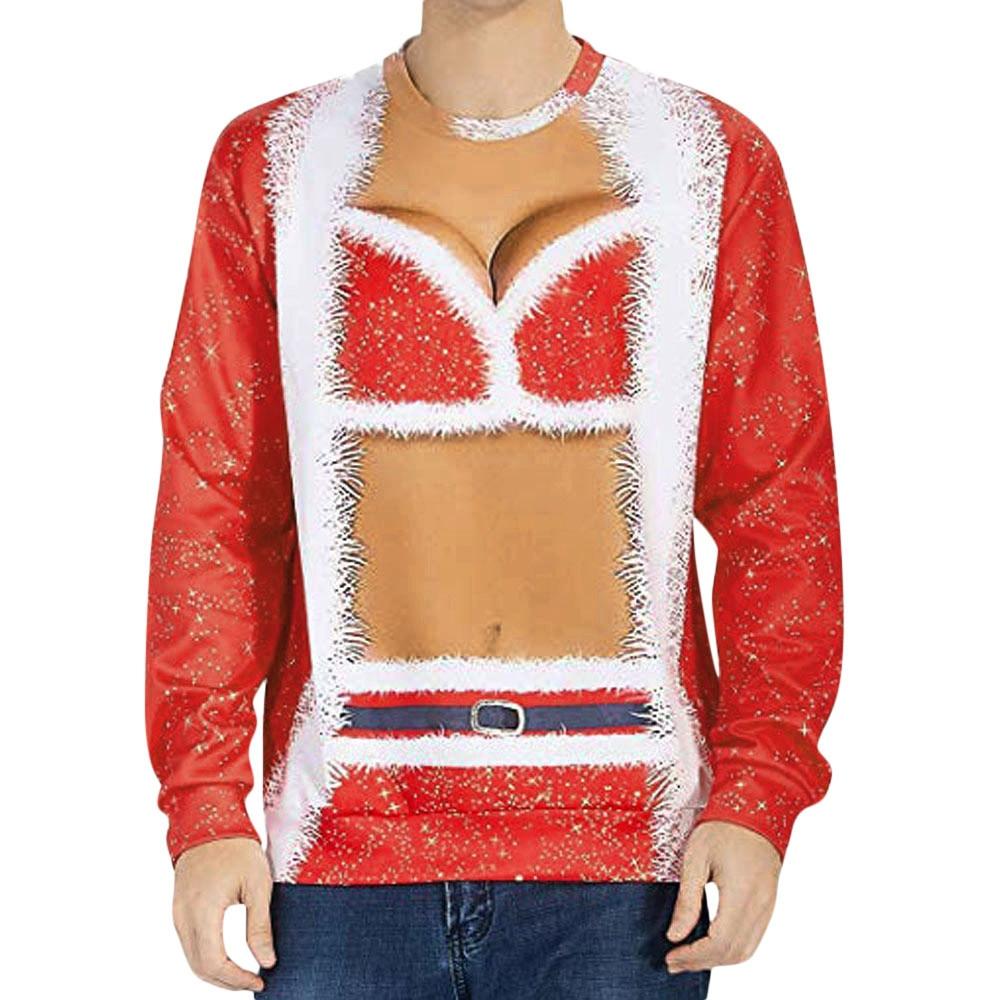 feitong Harajuku Style Women'smen 3D Sweatshirt Christmas Digital Print Outwear 3D Loose Sweatshirt funny jumper