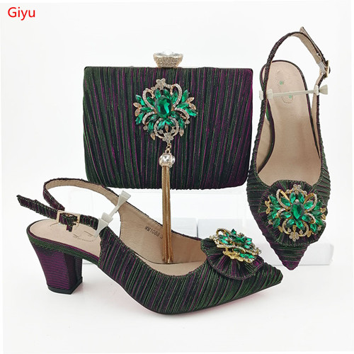 Doershow Colorful Shoes And Bag Matching Set Italy 2019 Designs For African Shoes And Bags Wedding Party Free Shipping!HVC1-19(China)