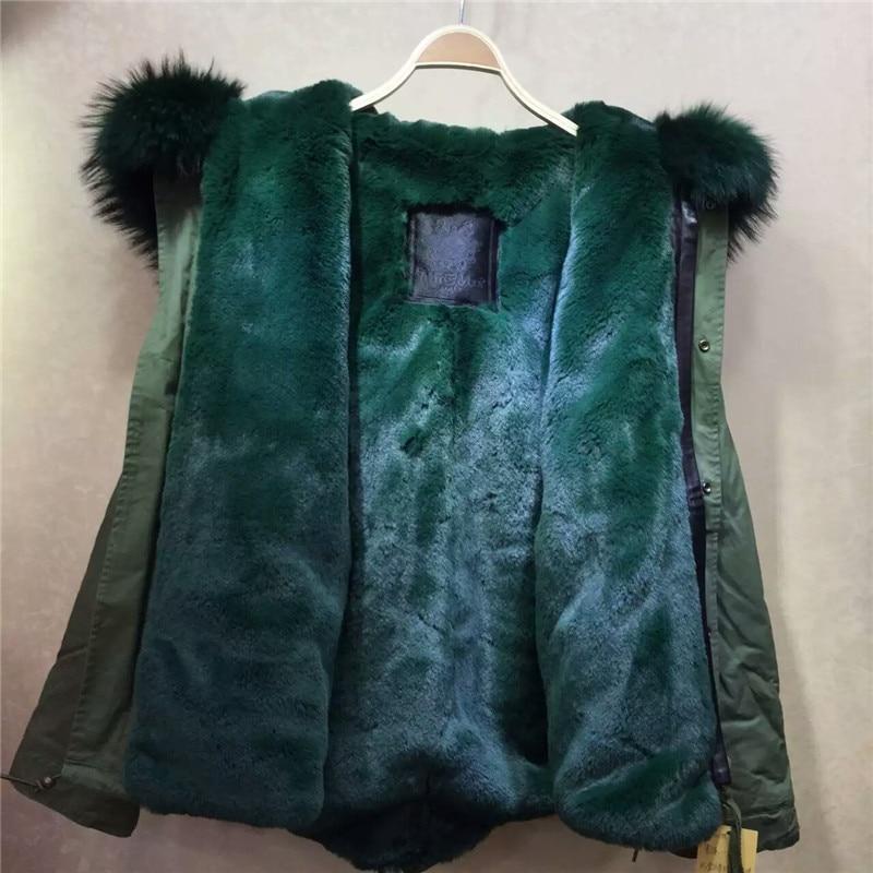 Raton Doublure D'hiver Parka Foncé De Manteaux Faux Col Grand Armée Laveur Fourrure Veste Outwear Capot Vert 6Sdq64vx