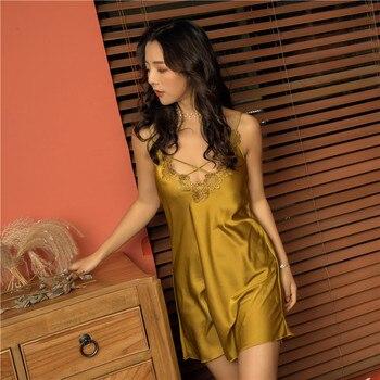 b19a6a02ddce636 2019 летняя одежда для сна кружева женские сорочки v-образным вырезом  сексуальное атласное белье Ночная рубашка ночные рубашки с открытой спи.