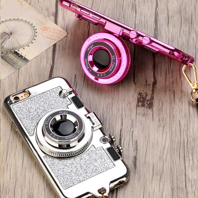 Блеск Камера зеркало Стенд Цепочки и ожерелья чехол для iPhone 7 8 6s Plus X с сияющими блестками телефон чехлы для coque iPhone 6 Plus 7 Plus 8 плюс