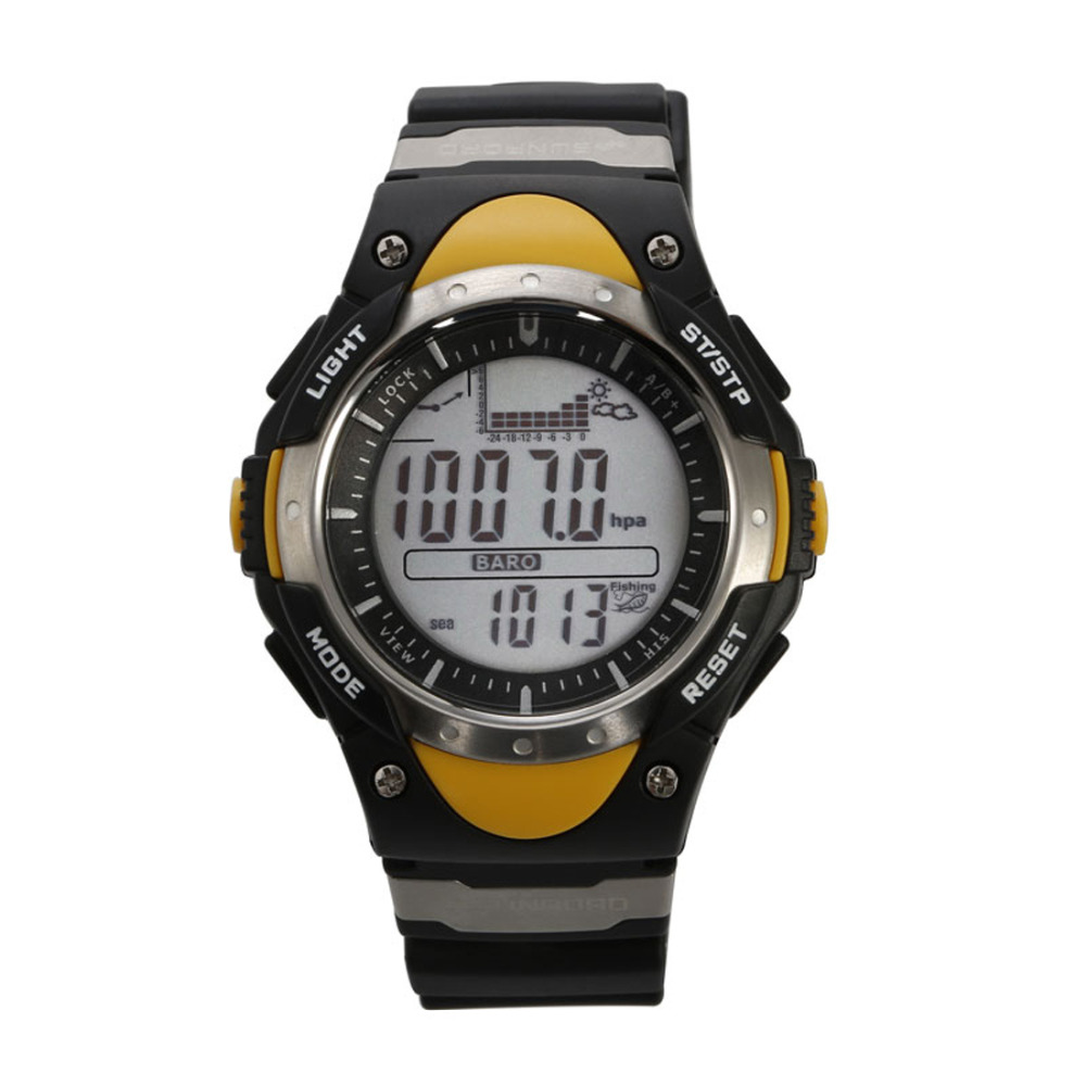 SUNROAD Fishing Barometer Men Watch FR718 Waterproof Digital Altimeter Thermometer Weather Forecast LCD font b Display