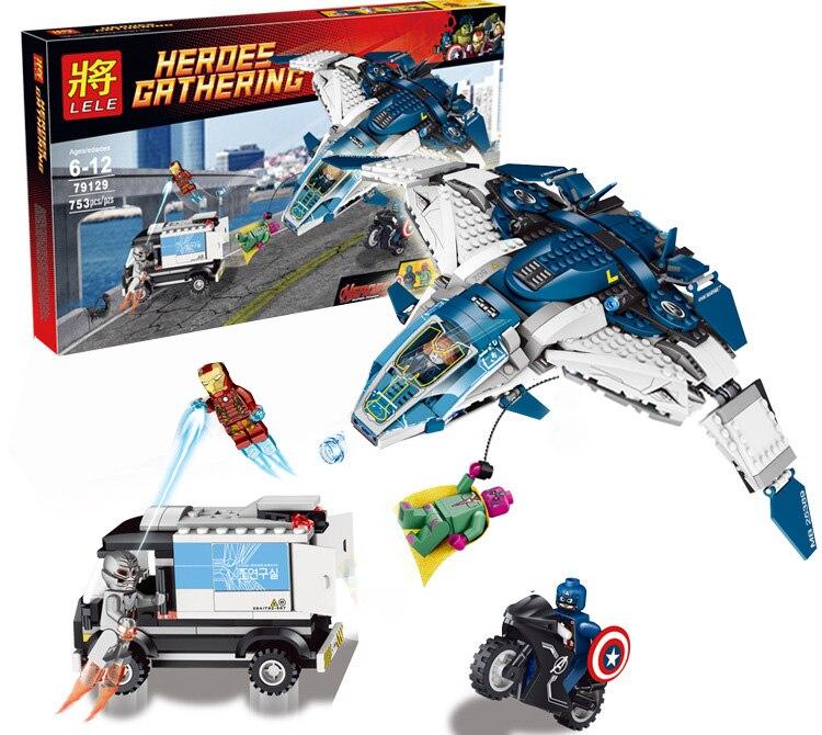 753pcs Avengers Quinjet City chase Super Heroes Toy Blocks