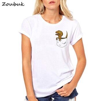 c47dd1b0c0192b ... Jurassic Park t shirt women pocket dinosaur Print T shirts graphic cool  tshirt lady tee funny