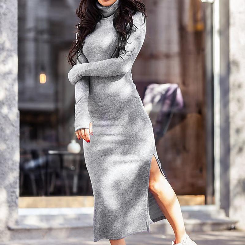 Women Sweaters Dress 2018 Knitting Turtleneck Dress Autumn Winter Long Sleeve Warm Bodycon Midi Dress Knitted Dresses
