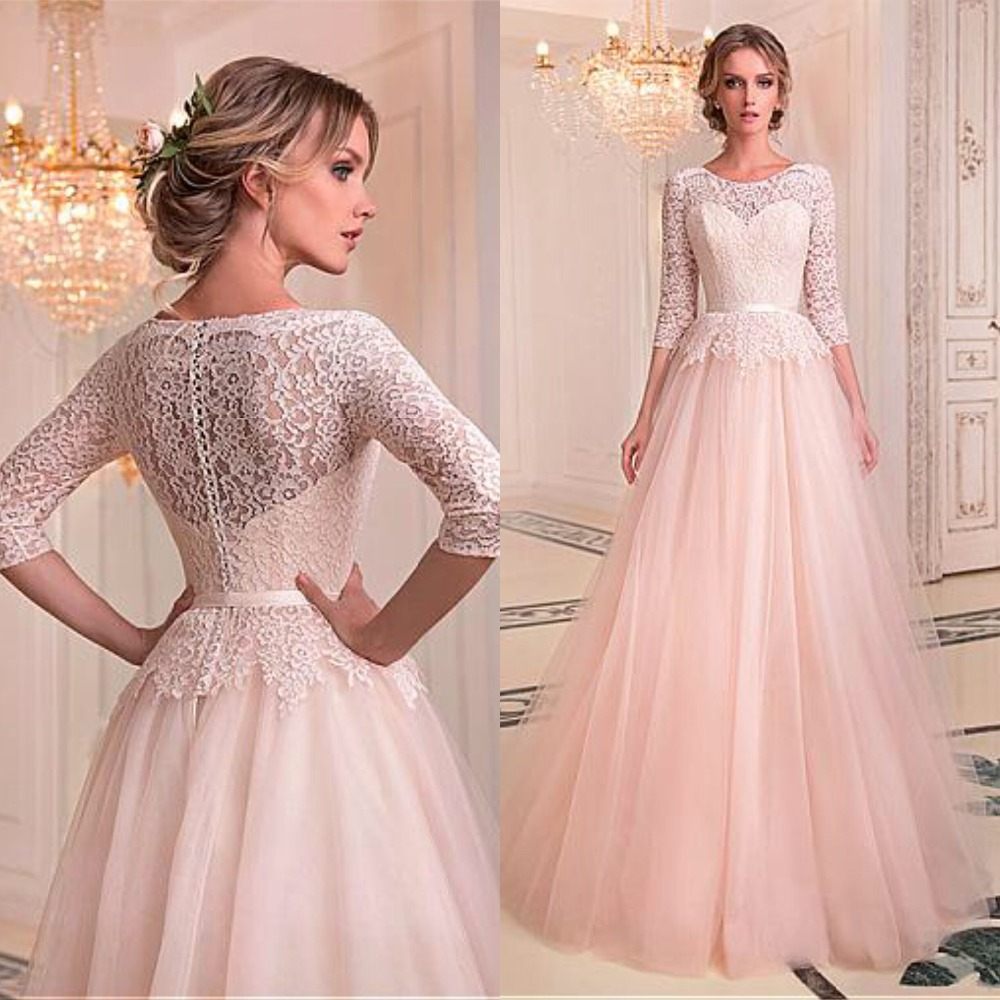 Fashionable Tulle & Lace Jewel Neckline A line Wedding Dresses With Belt Lace Bridal Gowns Illusion Robe De Mariage Floor Length-in Wedding Dresses from Weddings & Events
