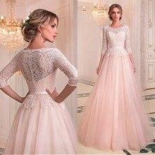Thời trang Tulle & Ren Jewel Đường Viền Cổ Áo A Line Wedding Dresses Với Vành Đai Ren Bridal Gowns Illusion Robe De Mariage Tầng Chiều Dài