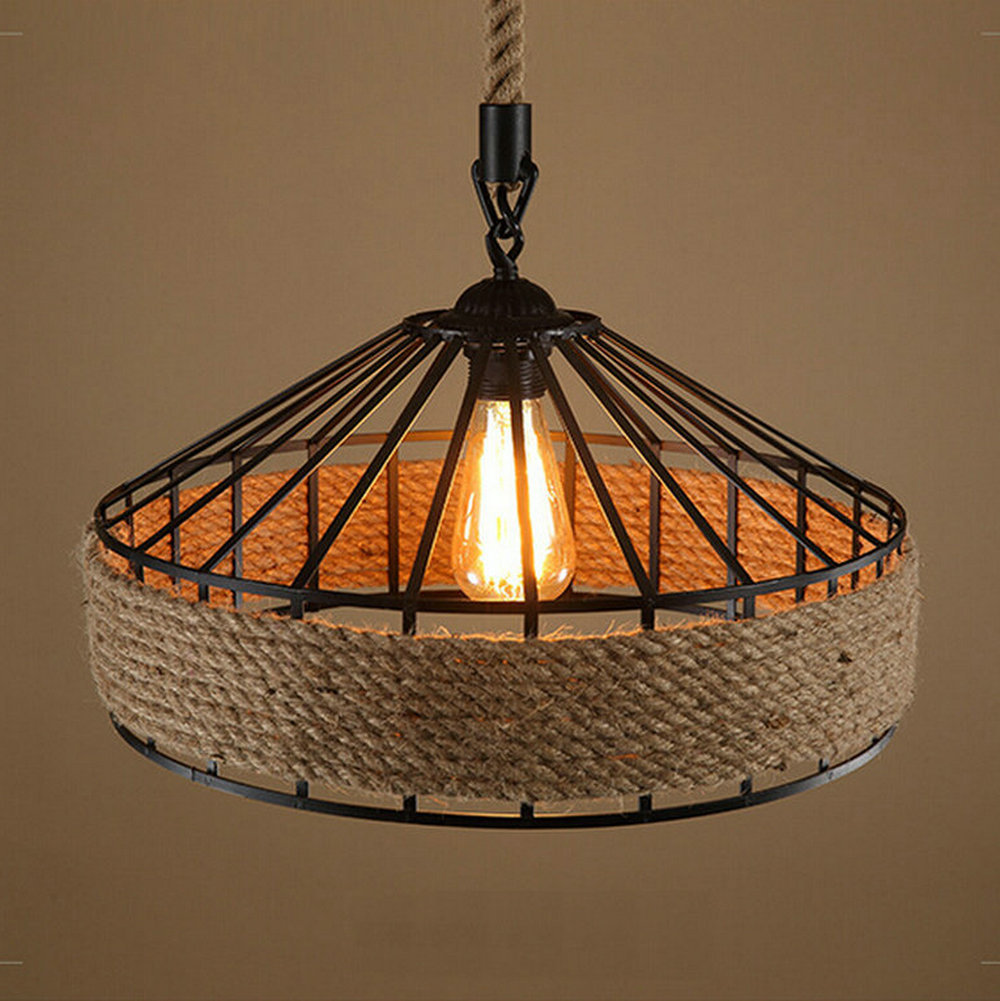 American Country vintage loft iron+hemp rope pendant light dining room Edison bulb pendant lamps restaurant cafe bar drop lights loft iron pendant light indutrial vintage loft bar cafe restaurant nordic country style birdcage pendant lights hanging lamp