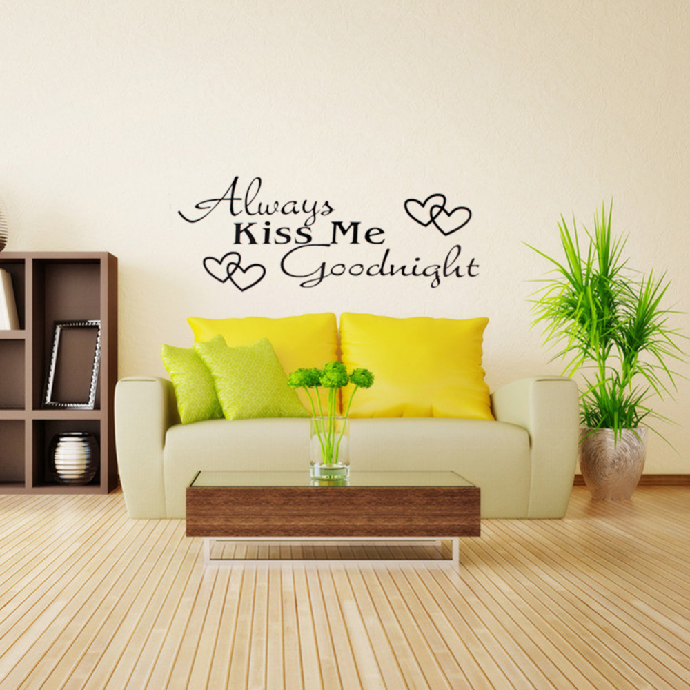 Black Words Wall Stickers Room Art Mural Stickers Alawys Kiss Me ...
