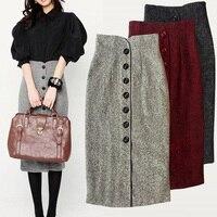 e77a17a0568b29 ... Winter Skirts High Waist Slim Long Skirt Solid Color Woolen Breasted  Pencil Skirt Fashion. (97). Bekijk Aanbieding. Simplee Vintage hoge taille  rokken ...