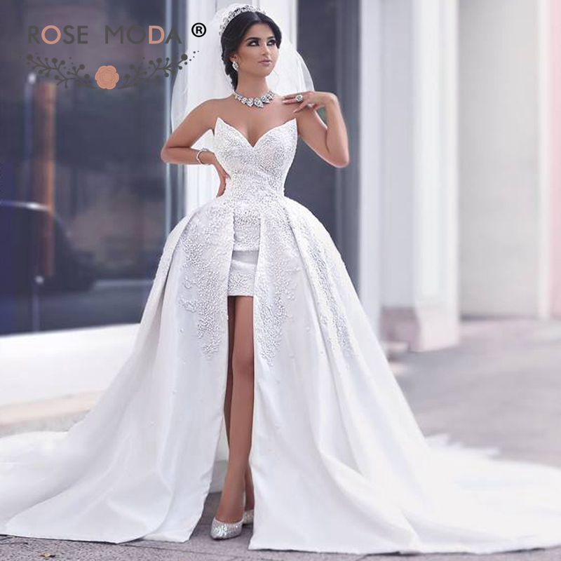 Stunning Triangle V Neck High Low Wedding Dress Lace