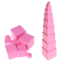 Wooden Building Blocks Toy Montessori Sensorial Materials Tower Family Set Wood Pink Educational Tower Toys Kid Training