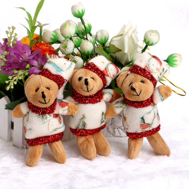Buquês de flores Acessório Modelo OPP Urso Ursos de pelúcia Pequeno Macio  Com Vestido de Natal d3c296b96da09