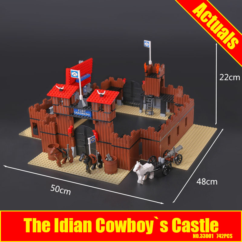 Lepin The Idian Cowboy`s Castle Set 33001 742Pcs Genuine Building Series Educational Building Blocks Bricks Toys Model Gift 6769 lepin 16017 castle series genuine the king s castle siege set children building blocks bricks educational toys model gifts