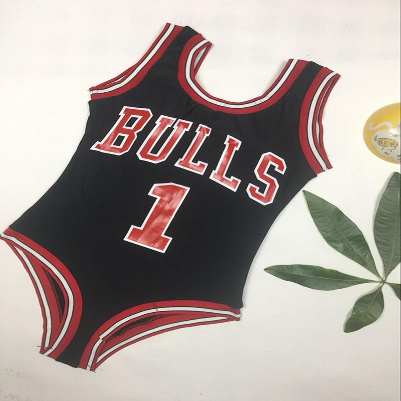 2018 New Monokini Swimwear Women Bulls Bodysuit One Piece Letter Swimsuit Bikini Basketball Red Sports Jumpsuits Sexy Costume tequila por favor letter custom swimsuit one piece swimwear bathing suit women sexy bodysuit funny swimsuits jumpsuits rompers