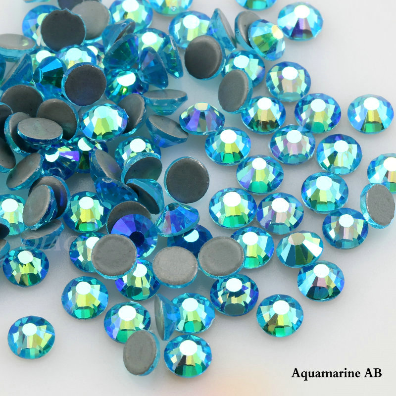 QIAO SS6-SS20 Aquamarine AB Crystal Glass Iron On Rhinestone/Hot Fix Rhinestone For Clothes Decoration