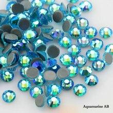 QIAO diamantes de imitación SS6 SS20 aguamarina, cristal AB, para decoración de ropa