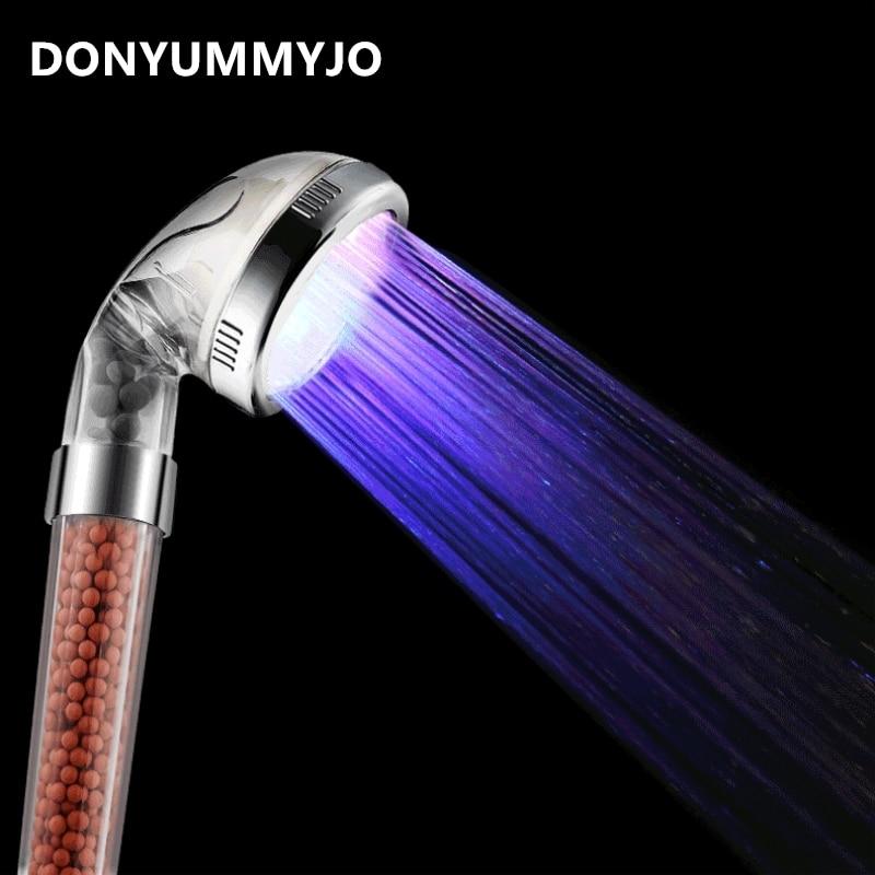 DONYUMMYJO 1pc LED Anion Shower SPA Shower Head Pressurized Water -Saving Temperature Control Colorful Handheld Big Rain Shower вентилятор maxwell mw 3509 w