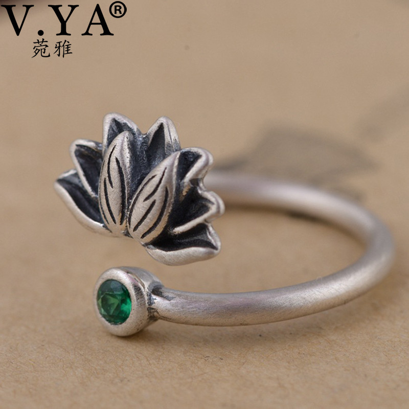 V.YA Retro Green CZ Crystal Open Rings For Women Real Pure 925 Silver Lotus Flower Ring Jewelry Accessories High Quality