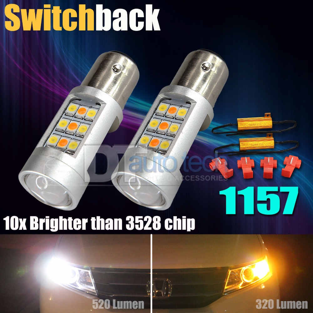 High Power 3535 Samsung Chip 1157 BAY15D Dual Color Switchback LED Turn Signal Light Bulb + 50W 6-Ohm Load Resistor