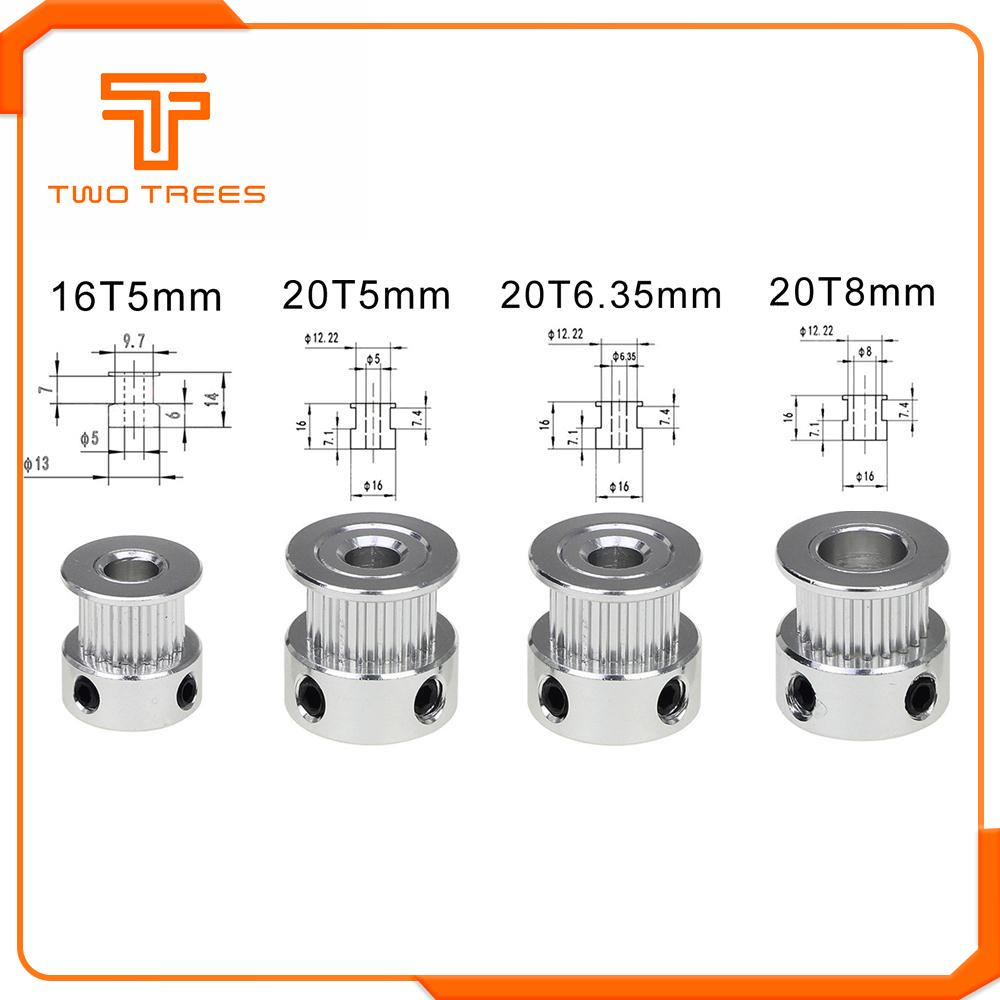 GT2 6MM Timing Pulley 20Teeth 5mm//6mm//6.35mm//8mm Bore For Reprap 3D Printer CNC