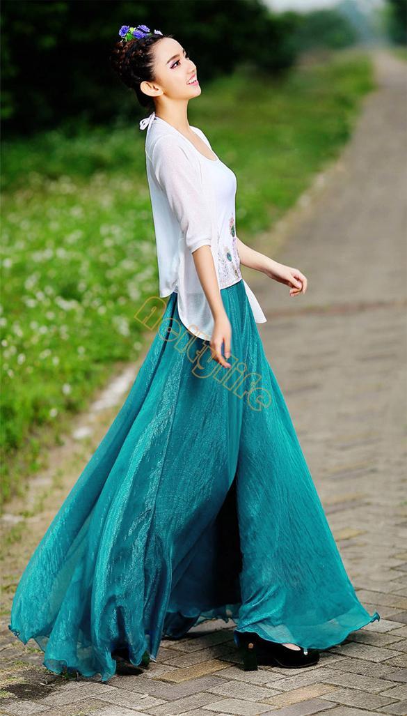 High Quality 2016 Women Summer Skirt New Retro Lady Full Circle Boho Gauze Chiffon Long Skirt Pleated Long Maxi Skirt Beach 67