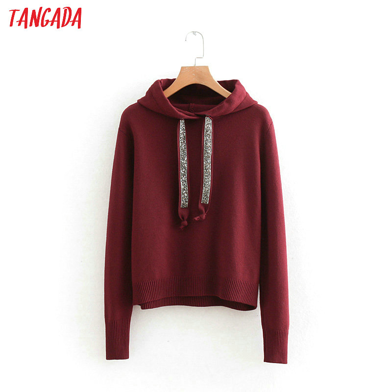 Tangada Chic Sequins Wine Red Hooded Sweaters Pullovers Fashion Short Sweater Women Solid Ladies Cropped Jumper Pull Femme RY52