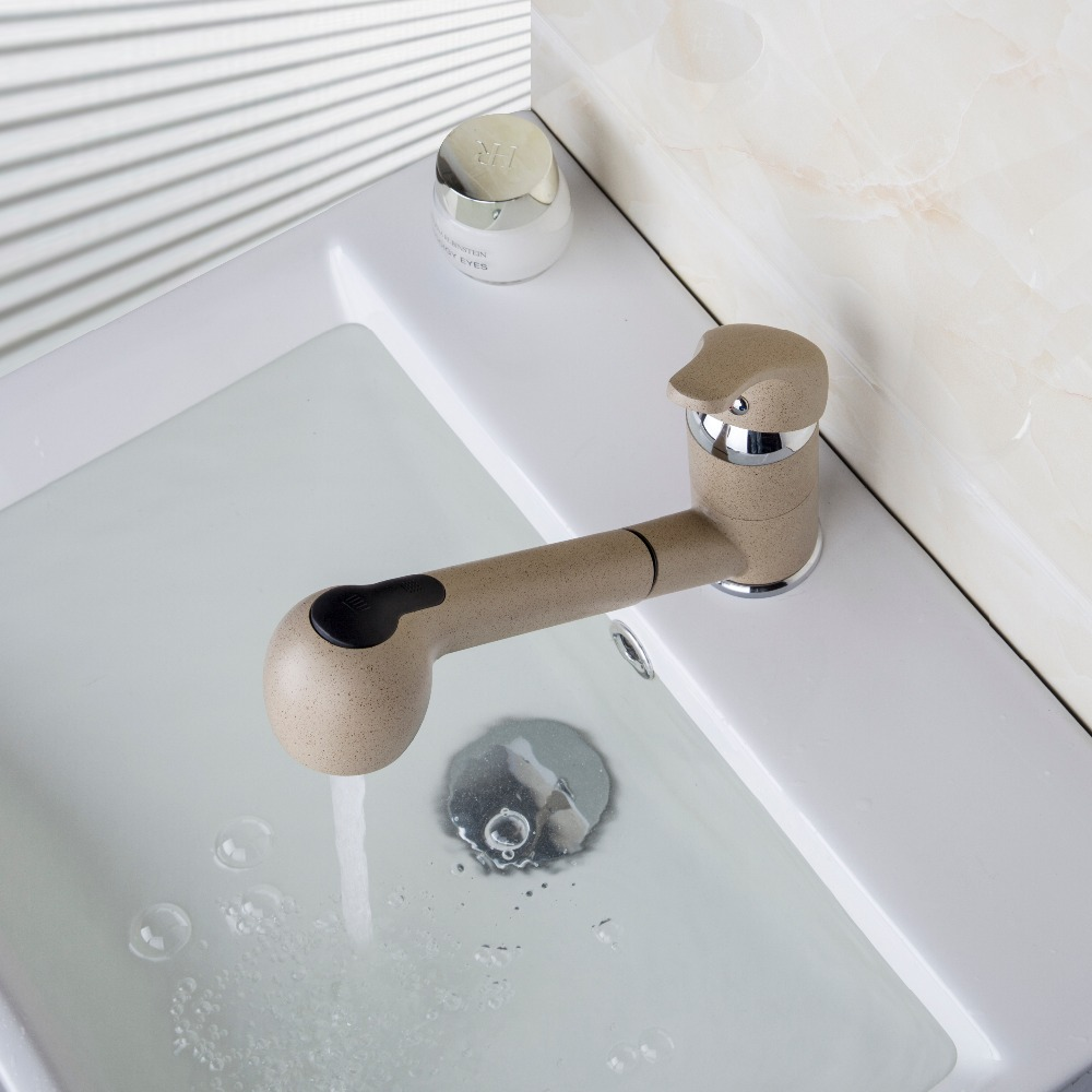Deck Mount Single Handle Wash Basin Durable Pull Out Swivel Kitchen Tap Faucet Mixer kai2