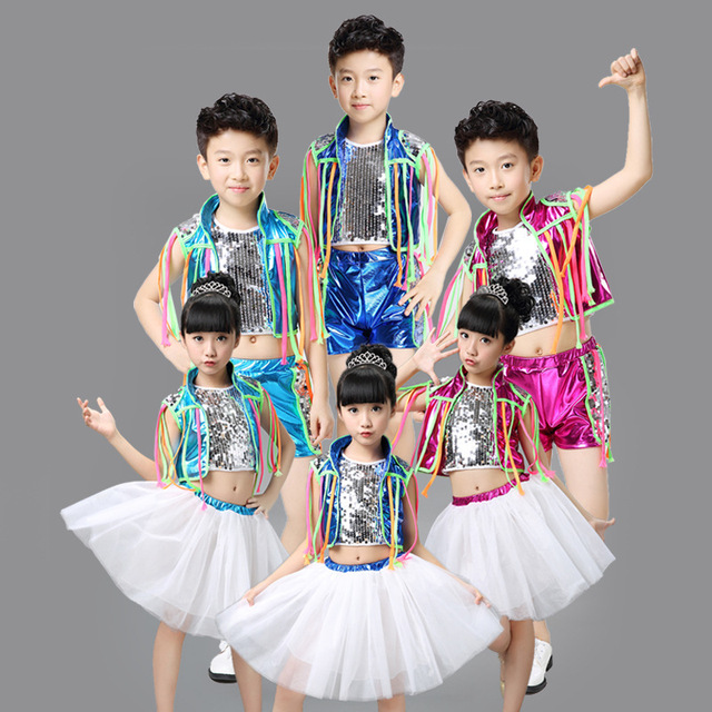 d3272c82964f0 Hip Hop Danza Disfraces infantiles Trajes de Danza Jazz Danza Moderna 3  Color Niños Vestidos De