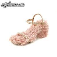 Stylesowner Top Design 2018 Pink Color With Fur Woman Sandals High Heels Pearl Open Toe Sweet