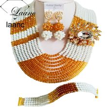 Laanc Brand Nigerian Wedding African Beads Bridal Jewelry Set Crystal White and Gold Champagne AL330(China)