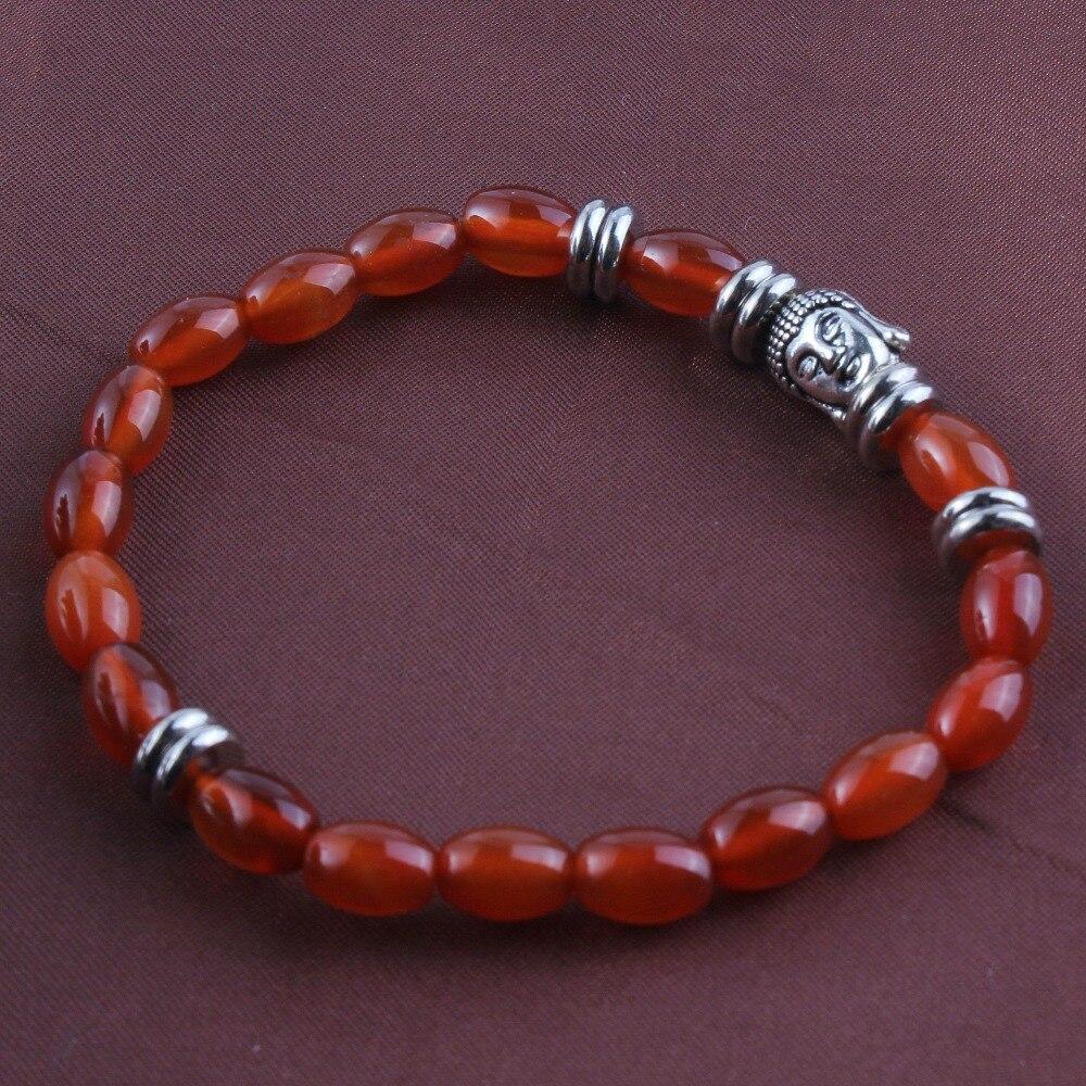 63e0b451bff2 Kraft-Cuentas plateado rojo Onyx piedra de cuarzo Tambores Cuentas  estiramiento religioso Buda cabeza pulsera para las mujeres
