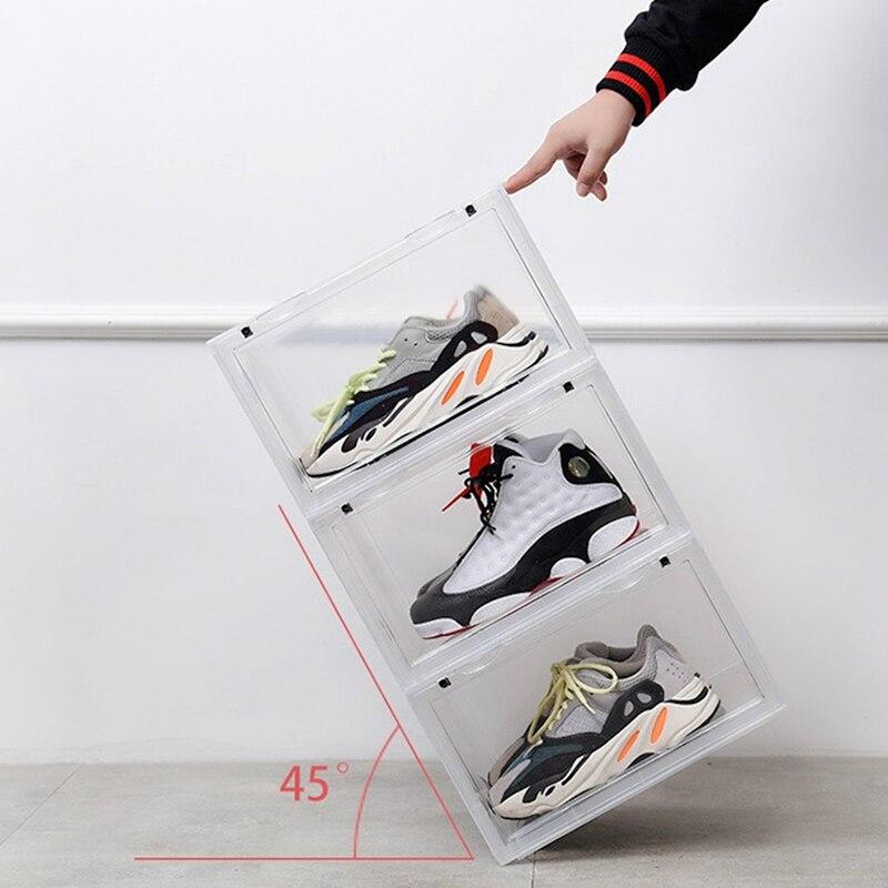 2019 tendance en plastique Transparent boîte à chaussures épaississement peut être superposée baskets côté vitrine chaussures de sport organisateur stockage - 3