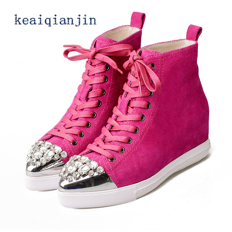 ФОТО Rhinestone Casual Shoes 2016 Spring/Autumn Newest Height Increasing Lace-Up Girl Student Shoes Rose Red Black Genuine Leather