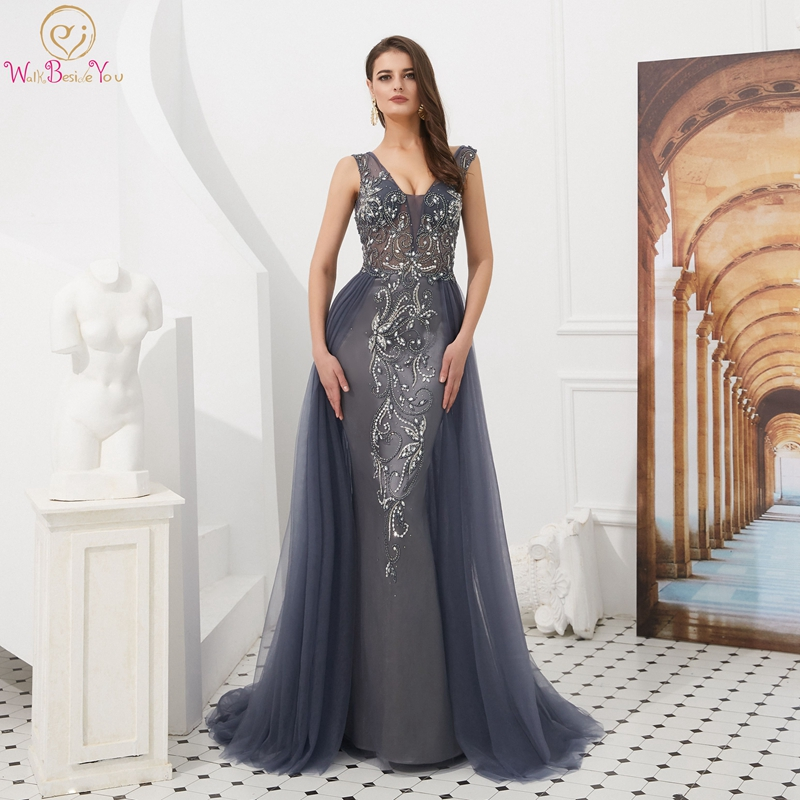 Gray Red Evening Dress 2019 Robe De Soiree V Neck Floor Length Sweep Train Sexy Mermaid Backless Robe Femme Prom Dress