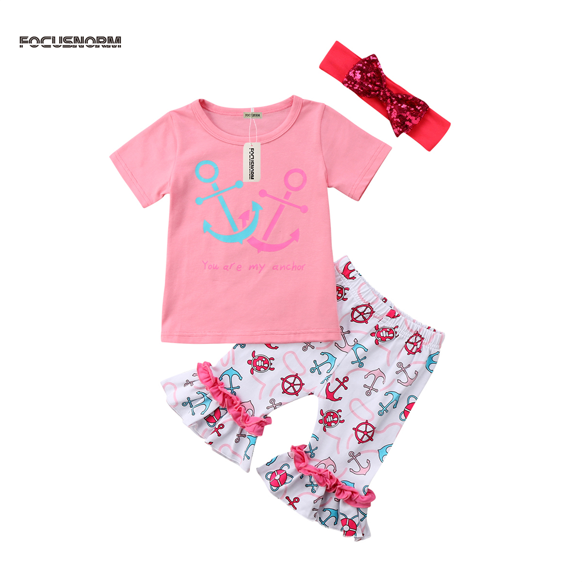 Toddler Kids Baby Girls Cotton Short Sleeves Top T-shirt + Ruffle Pants Leggings+Headband Outfits Clothes Summer