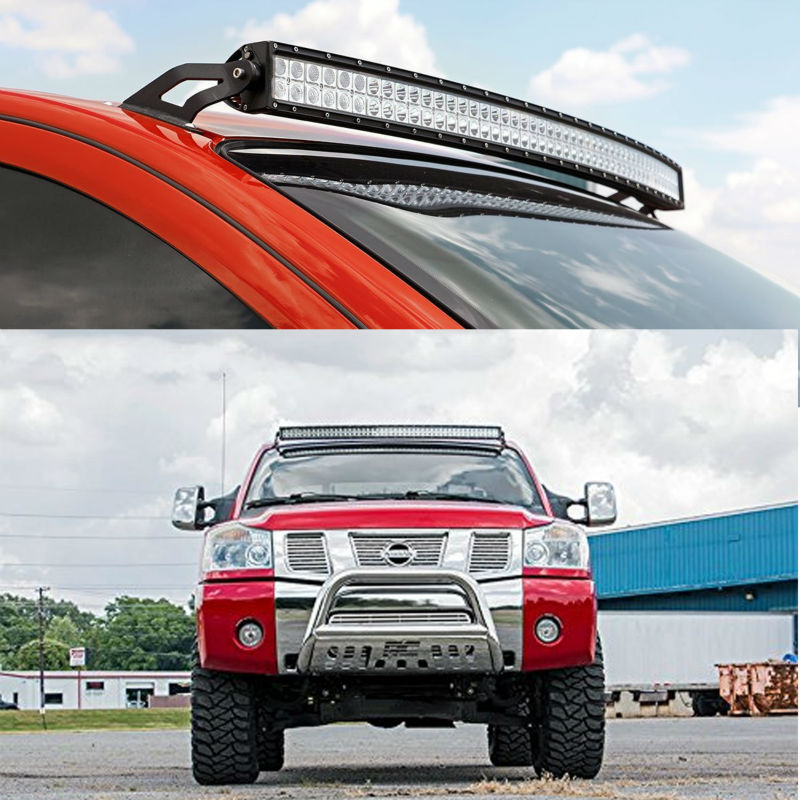Roof upper windshield mount brackets for nissan titan 04 14 2d 4d 5d mounting brackets for 50 inch straight curved led light bar working light for nissan titan offroad aloadofball Image collections