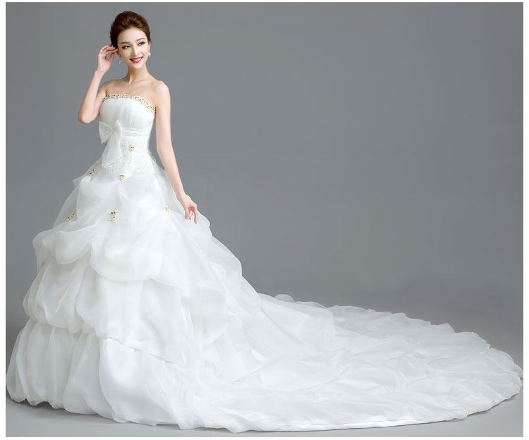 In Stock White Cheap Wedding Dresses With 2 Meter Long