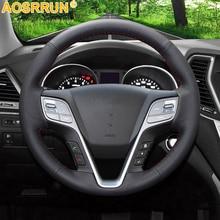 AOSRRUN Black Leather Hand stitched Car Steering Wheel Cover for Hyundai ix45 Santa Fe 2013 2014 2015 2016 Car Accessories