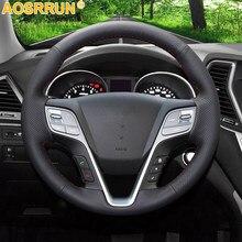 AOSRRUN – housse de volant de voiture en cuir noir, cousue à la main, accessoires pour Hyundai ix45 Santa Fe 2013 2014 2015 2016