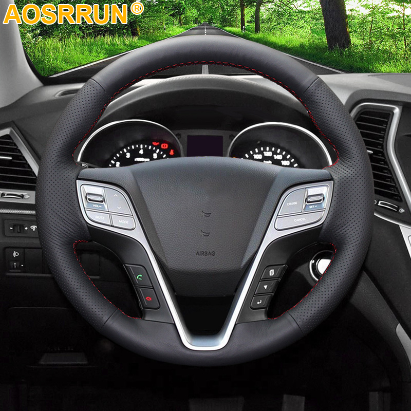 AOSRRUN Black Leather Hand-stitched Car Steering Wheel Cover for Hyundai ix45 Santa Fe 2013 2014 2015 2016 Car Accessories