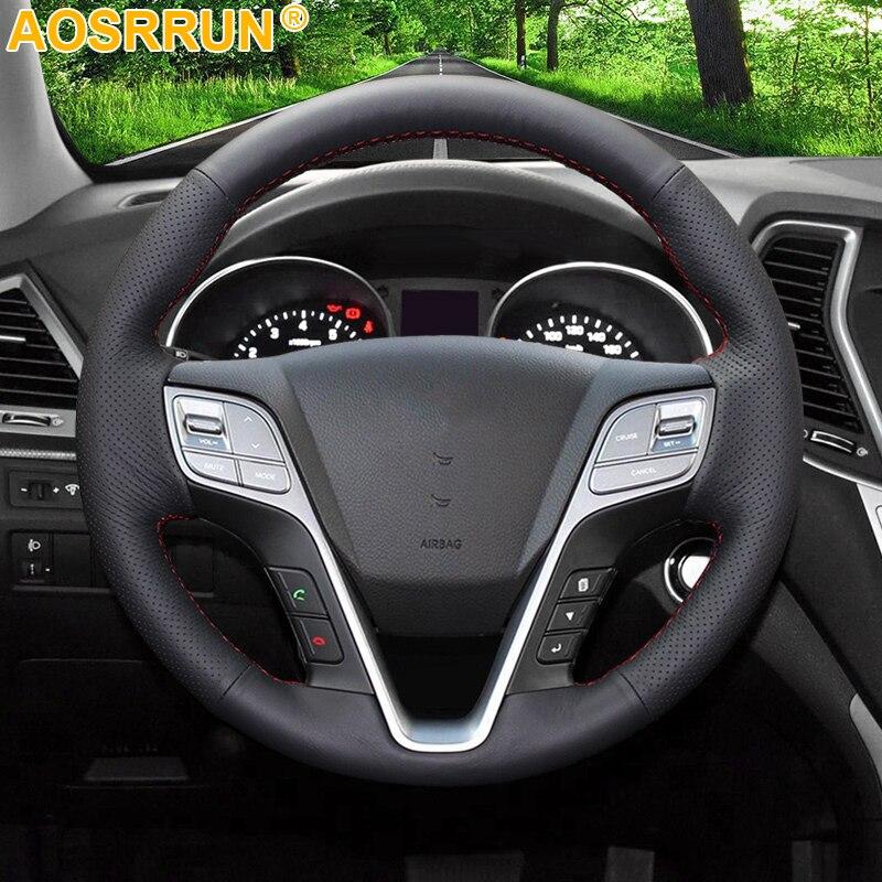 AOSRRUN negro de cuero cosido a mano protector para volante de coche para Hyundai ix45, Santa Fe, 2013, 2014, 2015, 2016 accesorios de coche