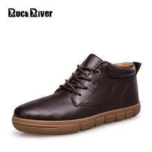 2017 Genuine Leather Men Winter Boots Waterproof Men Snow Boots Casual Warm Winter Shoes Men Black Brown Men Boots Plus Size 48