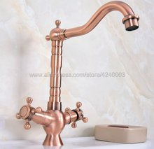 Antique Red Copper Basin Faucets Bathroom Sink Faucet Double Handle Deck Mounted Hot and Cold Water Single Hole Mixer Tap Knf618 free shipping bathroom faucet antique brass all copper deck mounted cold hot sink mixer water tap xt926