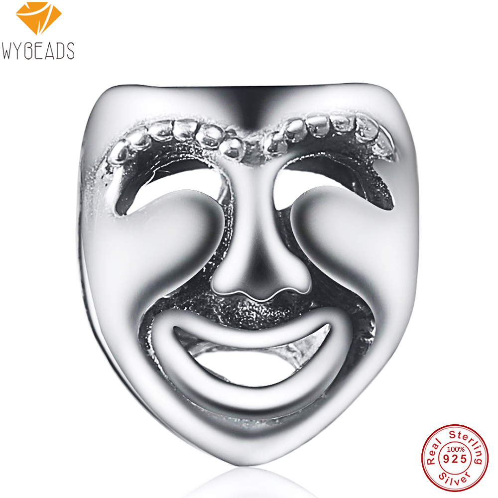 WYBEADS 100% 925 Sterling Silver Theatre Masks Charms European Bead Fit Snake Chain Bracelet Bangle DIY Accessories Jewelry