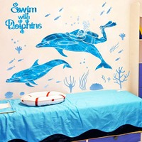 Wall Stickers Dolphin Wall Bathroom Bedroom Walls Underwater World Glass Decoration Environmental Protection Can Be Removed