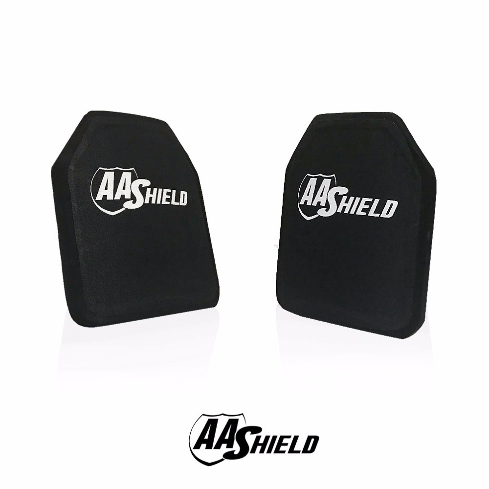 AA Shield Bullet Proof Ultra-Light Weight Hard Plate Body Armor Inserts Safety Shooter Cut #2 Standalone NIJ IV 10x12 Pair