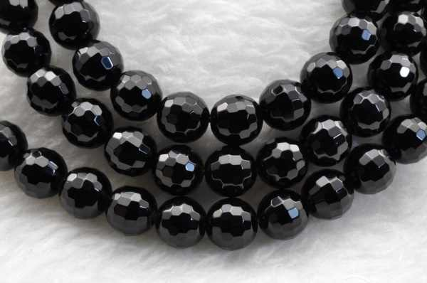 Black Onyx  faceted Round beads 6mm 64 pcs