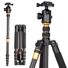 SUPON Q666C Professional Carbon Fiber Tripod Monopod Kit For DSLR Camera / Portable Traveling Tripod Max Load 15kg